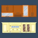 Interno residenziale della cucina moderna in palazzo di lusso Illustrazione moderna di vettore della mobilia di architettura dell Fotografia Stock