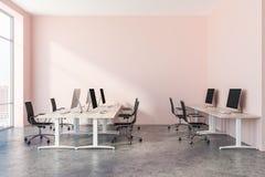 Interno rosa dell'ufficio open space illustrazione di stock