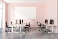 Interno rosa dell'ufficio open space, manifesto royalty illustrazione gratis