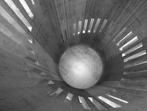 Interno rotondo concreto astratto della torre 3d con le finestre Fotografia Stock