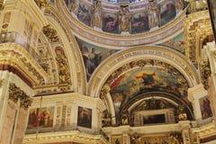Interno russo del tempio della cattedrale di ortodossia Immagine Stock Libera da Diritti