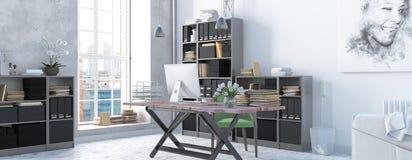 Interno scandinavo moderno dell'ufficio di stile 3d rendono Fotografia Stock Libera da Diritti
