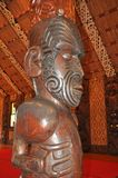Interno scolpito di una casa di riunione maori Fotografie Stock