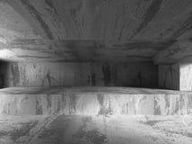 Interno scuro astratto della stanza dei mura di cemento Fotografia Stock