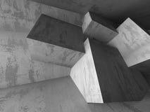 Interno scuro vuoto della stanza dei mura di cemento Architettura astratta B Fotografia Stock Libera da Diritti