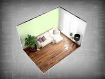 Interno senza pareti rappresentazione 3d Fotografie Stock