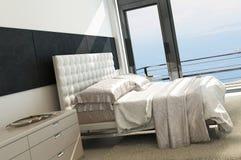 Interno soleggiato moderno contemporaneo della camera da letto con le finestre enormi royalty illustrazione gratis