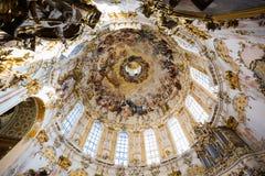Interno squisito della chiesa, Wieskirche - Steingaden, Germania Fotografie Stock Libere da Diritti