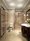 Interno tradizionale classico luminoso della stanza e del bagno di lavanderia Immagine Stock Libera da Diritti