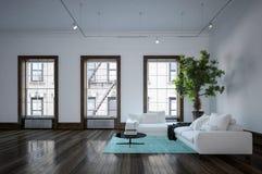 Interno urbano moderno minimalista del salone Fotografia Stock Libera da Diritti
