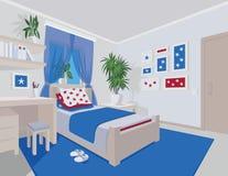 Interno variopinto della camera da letto nello stile piano del fumetto Immagini Stock Libere da Diritti