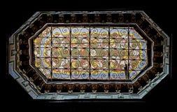 Interno variopinto delle finestre del EL Bahia Palace a Marrakesh Fotografia Stock