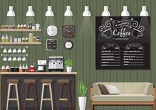 Interno verde della caffetteria Fotografia Stock