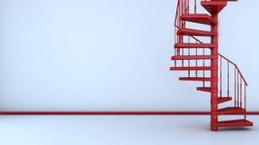 Interno vuoto con la scala a chiocciola illustrazione 3D Fotografia Stock