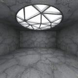 Interno vuoto concreto astratto della stanza con la grande finestra rotonda Fotografie Stock Libere da Diritti