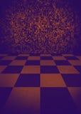 interno vuoto d'annata con il pavimento di marmo a quadretti Fotografia Stock