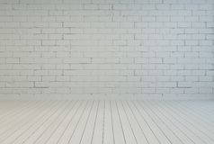 Interno vuoto della stanza con il muro di mattoni bianco Immagini Stock