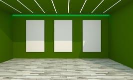 Interno vuoto della stanza con tela bianca Fotografia Stock