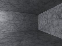 Interno vuoto della stanza scura Vecchie pareti concrete Architettura Backg Immagine Stock Libera da Diritti