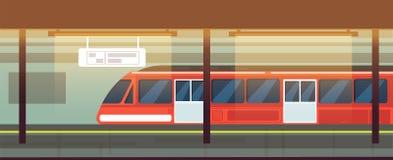 Interno vuoto della stazione della metropolitana con l'illustrazione di vettore del treno della metropolitana illustrazione vettoriale