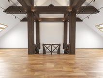 Interno vuoto dello spazio aperto del sottotetto della soffitta con i fasci, finestre, scala, pavimento di legno illustrazione vettoriale
