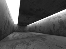 Interno vuoto scuro della stanza dei mura di cemento con le plafoniere Fotografie Stock