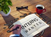 Interns Wanted Internship Training Trainee Concept stock photo