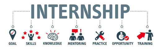 Internship benefits  illustration. Internship concept.  illustration banner with keywords and icons Royalty Free Stock Photography