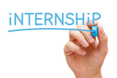 Internship Blue Marker. Hand writing Internship with blue marker on transparent wipe board stock image
