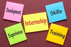Internship Word Concept. Internship, Skills, Training, Experience and Development written on color notes. Business Concept royalty free stock images