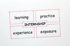 Internship Diagram Concept. Internship drawing diagram with keywords on white background. Business concept royalty free stock images