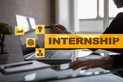 Internship text on virtual screen. Business, education and internet concept. Internship text on virtual screen. Business, education and internet concept royalty free stock image