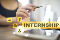 Internship text on virtual screen. Business, education and internet concept. Internship text on virtual screen. Business, education and internet concept royalty free stock images