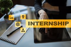 Internship text on virtual screen. Business, education and internet concept. Internship text on virtual screen. Business, education and internet concept stock image