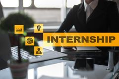 Internship text on virtual screen. Business, education and internet concept. Internship text on virtual screen. Business, education and internet concept royalty free stock photography
