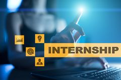 Internship text on virtual screen. Business, education and internet concept. Internship text on virtual screen. Business, education and internet concept royalty free stock photos