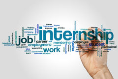 Internship word cloud. Concept on grey background royalty free stock photography