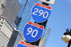 Internstate road sign in city Stock Photography