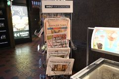 INTERNTIONAL NEWSPAPERS AR NEWS STAND DENMAK royalty free stock images