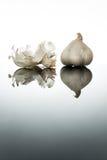 Intero aglio con la pelle e le riflessioni dell'aglio fotografia stock