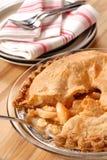 Intero grafico a torta di mela profondo del piatto con una crosta a fiocchi Fotografia Stock Libera da Diritti