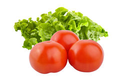 Intero gruppo fresco dei pomodori con insalata isolata sul backgrou bianco Fotografia Stock
