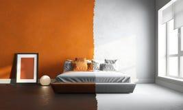 interor 3d des orange-weißen Schlafzimmers Lizenzfreies Stockfoto