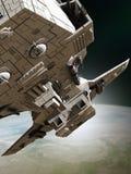 Interplanetair Ruimteschip die Baan, Dichte Mening verlaten Royalty-vrije Stock Afbeeldingen