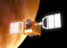 Interplanetair Ruimtestation het Cirkelen Planeetvenus Stock Afbeelding