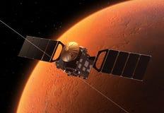 Interplanetaire Ruimtestation Cirkelende Planeet Mars Royalty-vrije Stock Fotografie