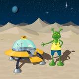 Interplanetaire taxi - een UFO bevindt zich met een open deur, naast het bevindt zich een humanoidbestuurder Stock Foto's