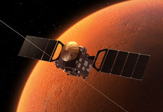 Interplanetary Space Station Orbiting Planet Mars Royalty Free Stock Photography
