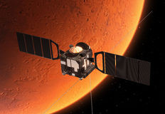 Interplanetary Space Station Orbiting Planet Mars. 3D Scene Stock Photography