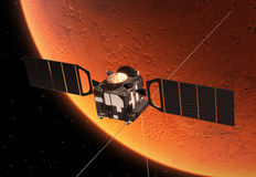 Interplanetary Space Station Orbiting Planet Mars Stock Images